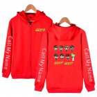 Men Women Printed Casual Loose Zip Up Hooded Sweater Tops Red A L