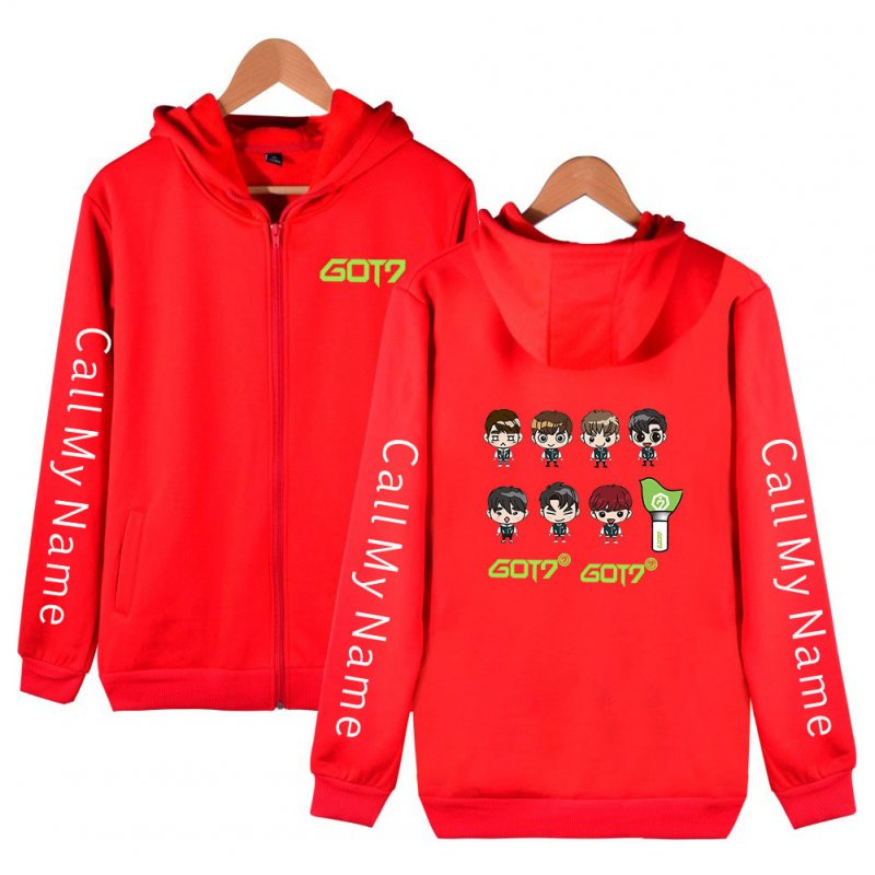 Men Women Printed Casual Loose Zip Up Hooded Sweater Tops Red A_L