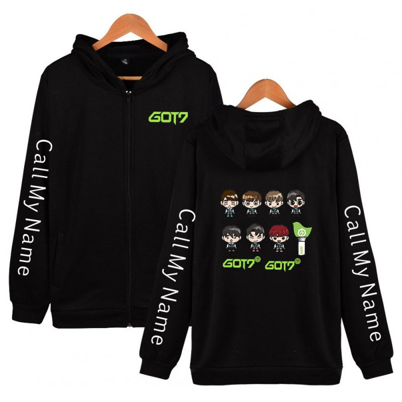Men Women Printed Casual Loose Zip Up Hooded Sweater Tops Black A_M