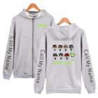 Men Women Printed Casual Loose Zip Up Hooded Sweater Tops Gray A_M