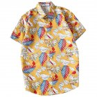 Men Women Printing Shirts Short Sleeve Floral Casual Blouse 8867 yellow_M