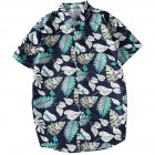 Men Women Printing Shirts Short Sleeve Floral Casual Blouse 8867 green_XL