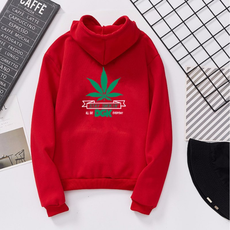 Men Women Ptinted Fleece Loose Thickened Long Sleeve Sweatshirts Hoody Red 993#_M