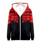 Men Women Simple Casual Spiderman Heroes Printing Hooded Zipper Sweater Style C_M