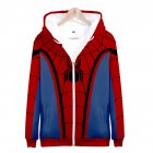Men Women Simple Casual Spiderman Heroes Printing Hooded Zipper Sweater Style B_L