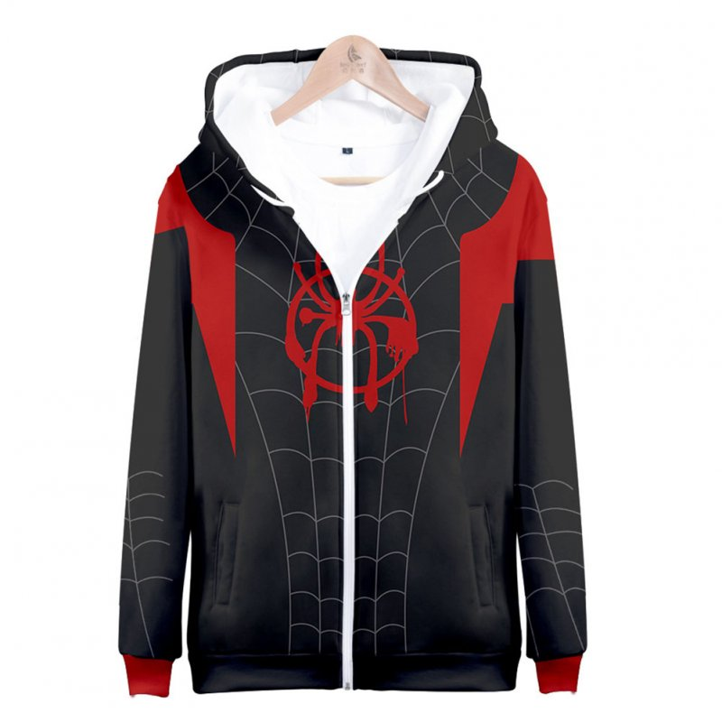 Men Women Simple Casual Spiderman Heroes Printing Hooded Zipper Sweater Style A_XL