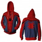Men Women Simple Casual Spiderman Heroes Printing Hooded Zipper Sweater Style D_XL