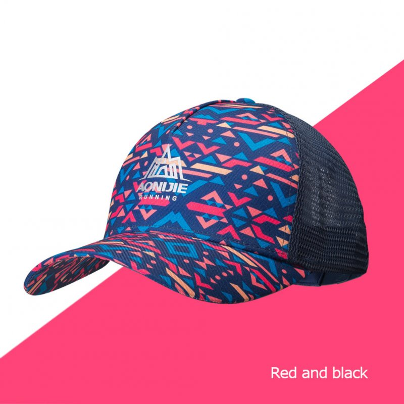 Men Women Sports Adjustable Sun Visor Baseball Cap Trucker Hat Mesh Back For Running Hiking Marathon Trail Red black_Free size