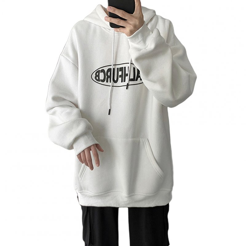 Men Women Spring Autumn Loose Letter Printing Hooded Sweatshirt White 372_XL