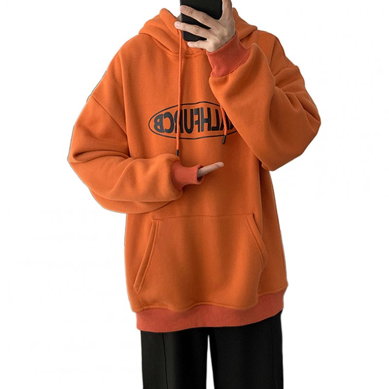 Men Women Spring Autumn Loose Letter Printing Hooded Sweatshirt Orange 372_M