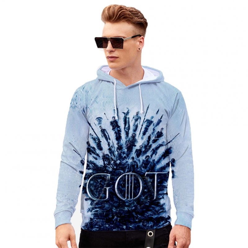 Men Women Stylish Cool Loose Game of Thrones 3D Printing Sweatshirt Hoodies Style F_XL