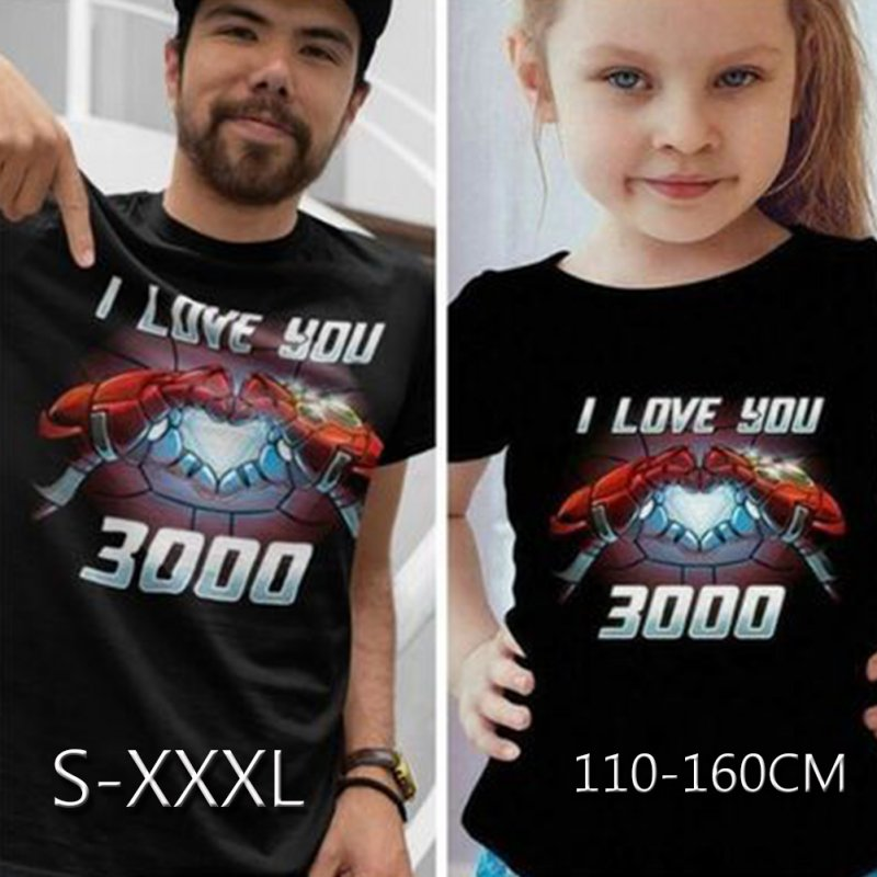 Men Women Summer I Love You 3000 Letters Printed Casual Round Collar Fashion T-shirt Q-4929-YH01_M