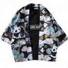 Men Women Sunscreen Loose Dark Color Printing Kimono Cardigan Shirt 1921 dark floral black XXL