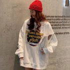 Men Women Sweatshirt Harajuku Style Printing Letter Crew Neck Loose Couple Pullover Tops White_M