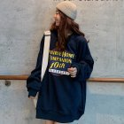 Men Women Sweatshirt Harajuku Style Printing Letter Crew Neck Loose Couple Pullover Tops Black_M