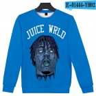Men Women Sweatshirt JUICE WRLD Head Portrait Printing Crew Neck Unisex Loose Pullover Tops Blue_XXL