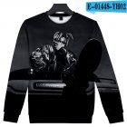Men Women Sweatshirt Juice WRLD Portrait Flower Skull Crew Neck Unisex Loose Pullover Tops E-01448_M