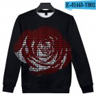 Men Women Sweatshirt Juice WRLD Portrait Flower Skull Crew Neck Unisex Loose Pullover Tops E-01443_M