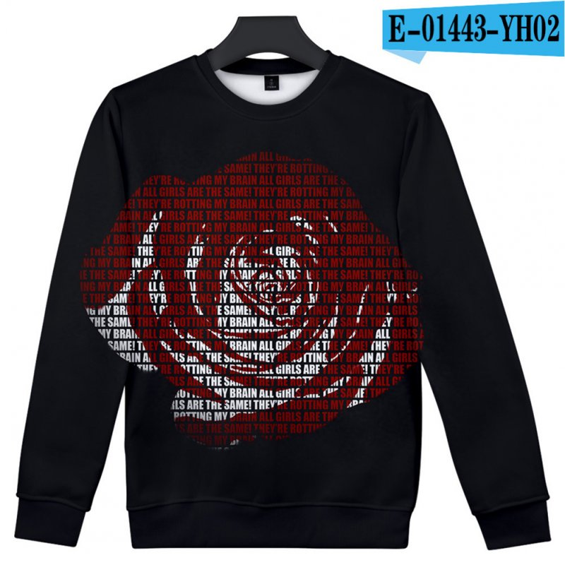 Men Women Sweatshirt Juice WRLD Portrait Flower Skull Crew Neck Unisex Loose Pullover Tops E-01443_XXL