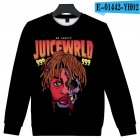 Men Women Sweatshirt Juice WRLD Portrait Flower Skull Crew Neck Unisex Loose Pullover Tops E-01442_XXL