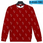 Men Women Sweatshirt Juice WRLD Flower Heart Printing Crew Neck Unisex Loose Pullover Tops Red_XXL
