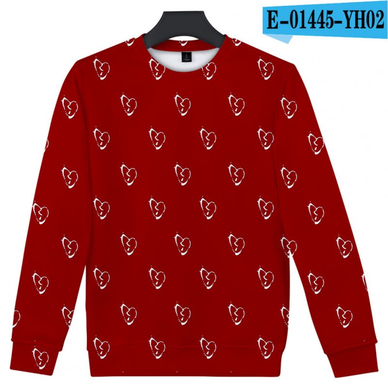 Men Women Sweatshirt Juice WRLD Flower Heart Printing Crew Neck Unisex Loose Pullover Tops Red_XXXL