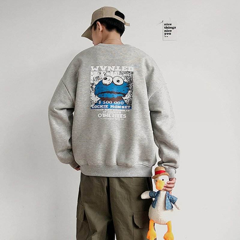 Men Women Sweatshirt KAWS Wanted Crew Neck Printing Loose Fashion Pullover Tops Light grey_XXL