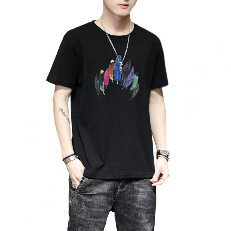 Men Women T Shirt Short Sleeve Summer Loose Feather Printing Couple Tops Black_XXL