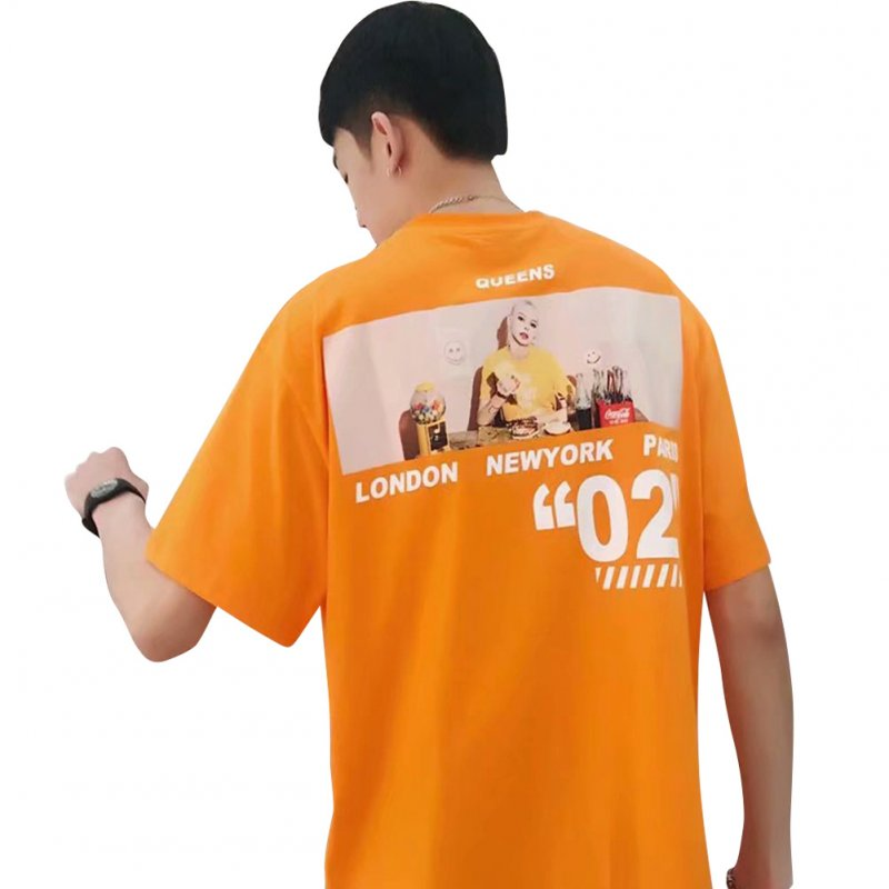 Men Women T-shirt Summer Oversize Printing Short Sleeve Shirt Orange_XXL