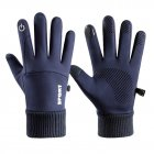 Men Women Thermal Fleece Gloves Waterproof Running Jogging Cycling Ski Sports Touchscreen Fleece Gloves blue_One size