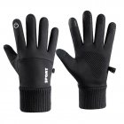 Men Women Thermal Fleece Gloves Waterproof Running Jogging Cycling Ski Sports Touchscreen Fleece Gloves black One size