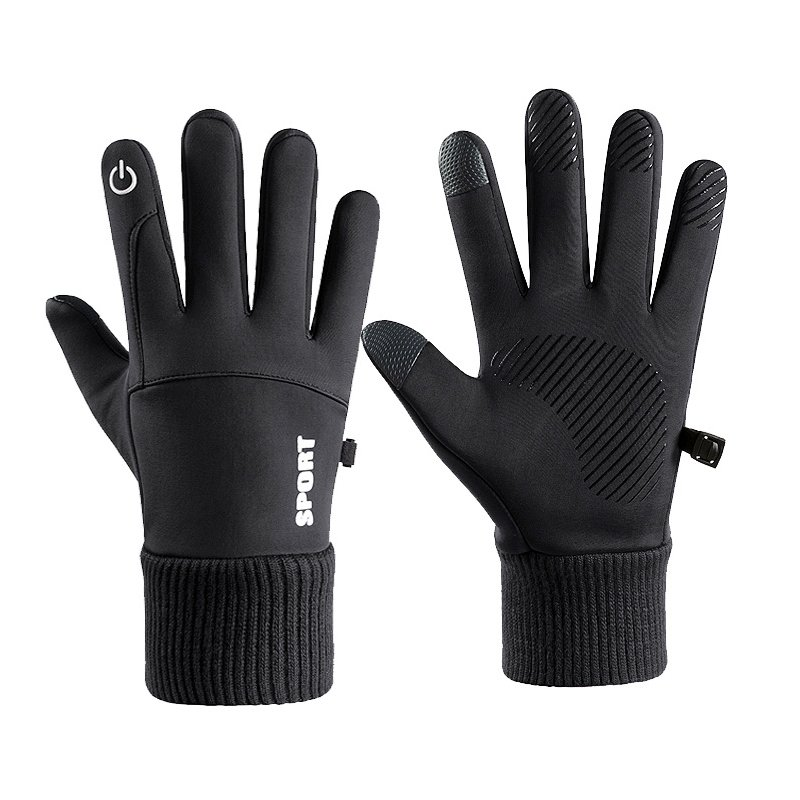 Men Women Thermal Fleece Gloves Waterproof Running Jogging Cycling Ski Sports Touchscreen Fleece Gloves black_One size