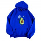 Men Women Thicken Hoodie Sweatshirt Cartoon Avocado Loose Autumn Winter Pullover Tops Blue_XL