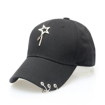 Adjustable Star Iron Ring Baseball Hat-Black