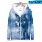Men Women Unisex Fashion Painting 3D Hoodies Animal Wolf Print Casual Hooded Sweatshirt N-04725-YH07 Type W_XXL