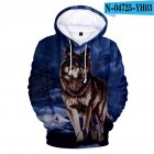 Men Women Unisex New Fashion Painting 3D Hoodies Animal Wolf Print Casual Hooded Sweatshirt Type A L