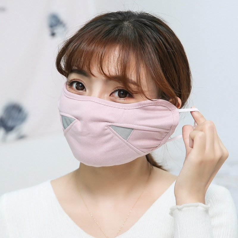 Men Women Warm Mask Autumn Winter Riding Cotton Breathable Dust-proof Mask Dark Pink