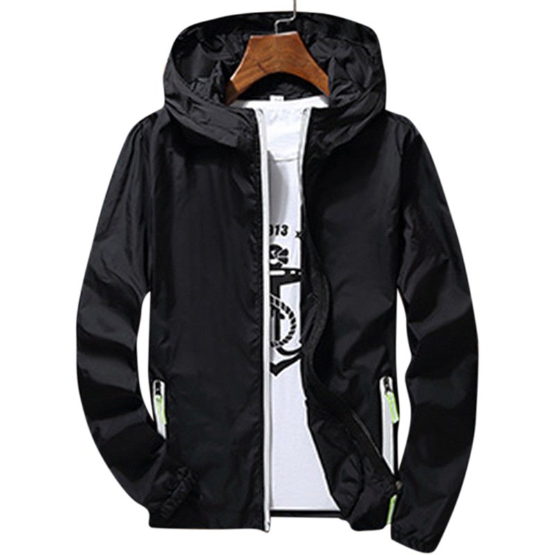 Men/Women Windbreaker  - Black XXL