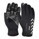 Men Women Zipper Gloves Warm Windproof Touch Screen Outdoor Sports Riding Gloves Long finger black_XL