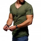 Men Youth Solid Color V Collar Elastic Short Sleeve T Shirt Army Green_3XL