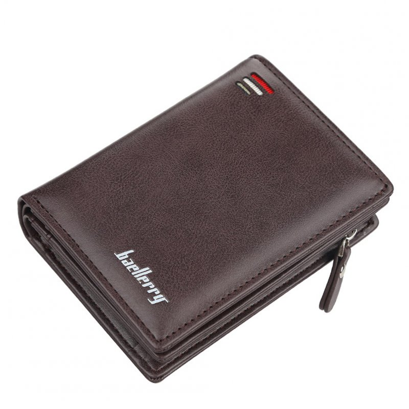 Men Zipper Short Style Wallet Card Slots Fashion Mini Snap Button Bag Brown