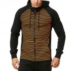 Men Zipper Sweatshirt Coat Spring Autumn Stripes Hooded Zipper Cardigan Orange stripes_S