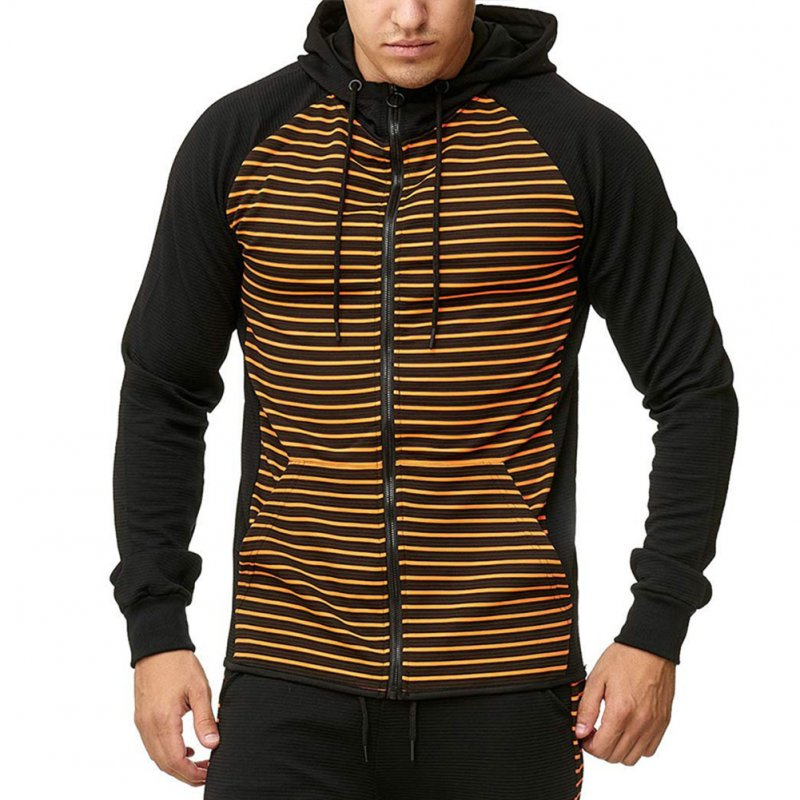 Men Zipper Sweatshirt Coat Spring Autumn Stripes Hooded Zipper Cardigan Orange stripe_M