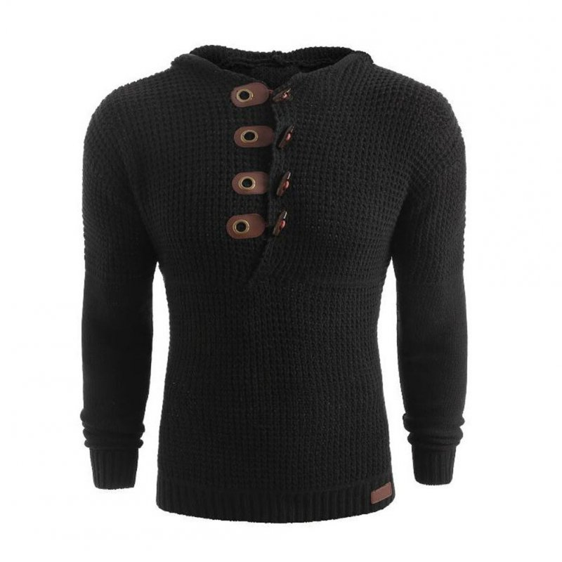Men's Autumn Casual Long Sleeve Slim Solid Color V-neck Bottoming Shirt Sweater Horn Button Sweater Top black_L