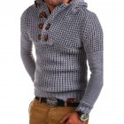Men's Autumn Casual Long Sleeve Slim Solid Color V-neck Bottoming Shirt Sweater Horn Button Sweater Top Light gray_L