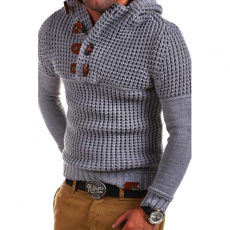 Men's Autumn Casual Long Sleeve Slim Solid Color V-neck Bottoming Shirt Sweater Horn Button Sweater Top Light gray_XL