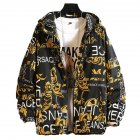Men's Baseball Jacket Spring and Autumn Loose Large Size Casual Jacket yellow_XXL