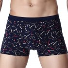 Men's Boxer Panties Cotton Letter Pattern Breathable Comfortable Underpants Navy  blue_XL