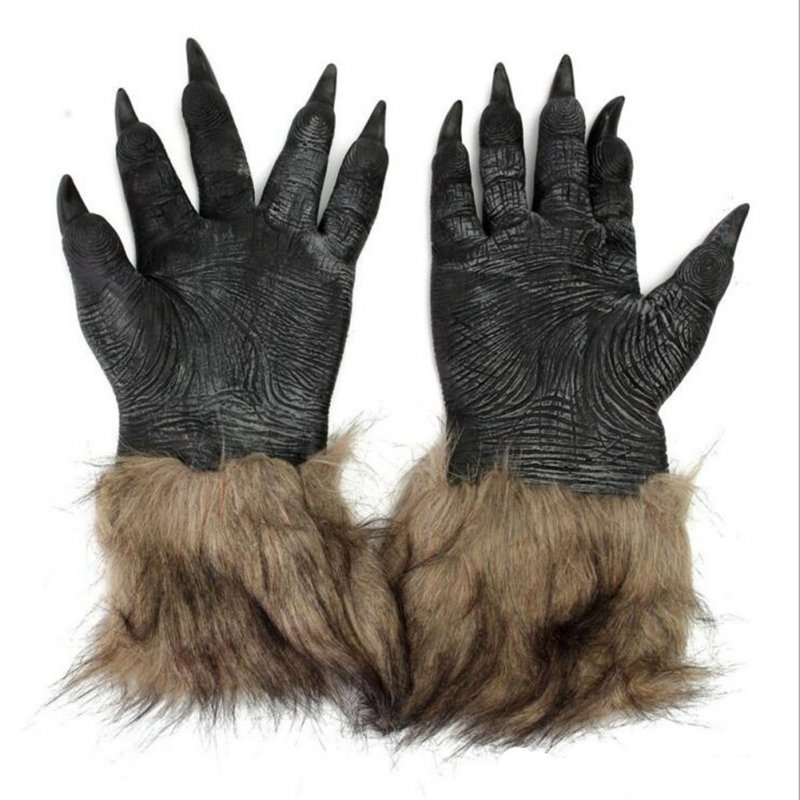 Men's Brown Hairy Wolf Claw Gloves Werewolf Hands for Cosplay Show Costume Party Halloween Masquerade Party Brown_Wolves gloves