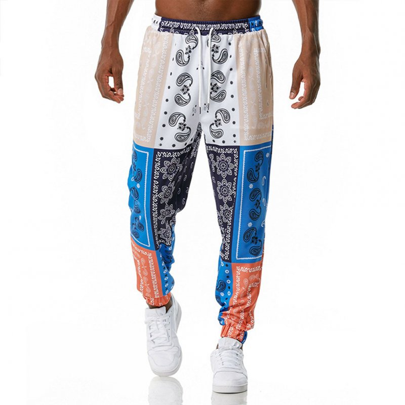 Men's Casual Pants Paisley Retro Style Printing Casual Sports Jogging Pants Blue and white _XXL
